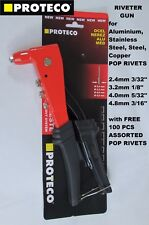 Riveter Pop Rivet Riveting Gun Hand Tool Kit HD + 100 Assorted Rivets PROTECO
