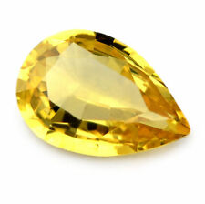 Certified Natural 0.63ct Yellow Sapphire Pear Cut Flawless Clarity