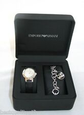 GIFT SET OF EMPORIO ARMANI BLACK LEATHER WATCH+CHARM BRACELET AR8013-NEW+BOX