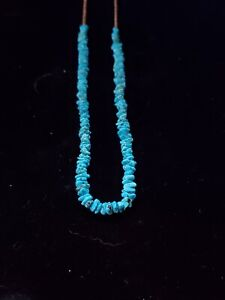Vintage NAVAJO 19'' Sterling Silver & Turquoise Heishi necklace