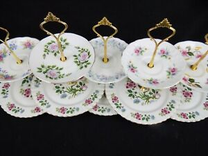 Erin - Wedding Job Lot of 5 Pretty Vintage Shabby Chic China Cake Stands