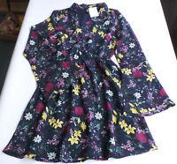 Chiffon Kleid Gr.32 36 XXS S H&M NEU dunkel blau Blumen Tunika Damen