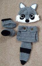 Baby Handmade Crochet Knit RACCOON Outfit Set Newborn 3 M Dress Up Clothes NEW
