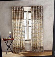 Delightful Nicole Miller Tan Gray Yellow Mustard Paisley Window Curtain Panels PAIR  52x96