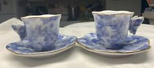Set of 2 Formalities by Baum Bros Pair of Butterfly Tea Cups with Saucers Blue