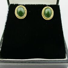Nice Pair Of 9ct Gold & Jadeite Earrings For Pierced Ears In Box