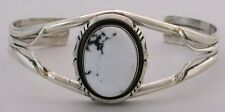 Navajo Indian Bracelet White Buffalo Turquoise Cuff Sterling Silver Robert Shake