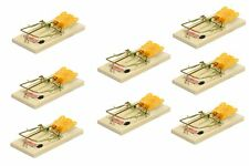 Lot of 8 Wooden Mouse Snap Traps Classic Rodent Pest Control Catchmaster Devices
