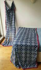 Unbranded CURTAINS X2 blue batik 100% cotton Made in India W106cm L206cm