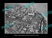 OLD LARGE HISTORIC PHOTO FOLKESTONE KENT ENGLAND AERIAL VIEW OF THE TOWN c1950