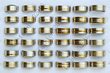 Fashion Wholesale Lots 12pcs Gold Silver Mixed Men's Stainless Steel Rings