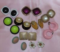 Lot of 10 Retro Vintage Wearable Clip On Back Earrings P202