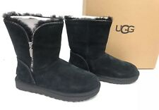 UGG Australia Classic Short Florence Black Suede Sheepskin Boots Womens 1013165