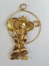Large Hat Clown Pendant Charm Solid 14K & 18K Yellow Gold