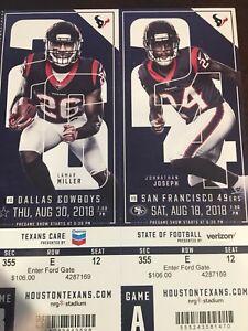2018 Houston Texans Ticket Stub, Mint unused - Pick the game, Cowboys & more