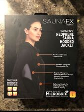 Saunafx Women's Large Neoprene Sauna Hooded Workout Jacket Black