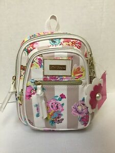 BETSEY JOHNSON White CREAM STRIPED FLORAL Roses Mini Multi Backpack Retail $68