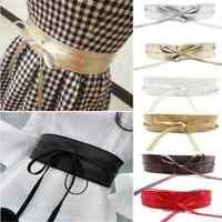 Newest Women's Soft Leather Wide Self Tie Wrap Around Obi Waist Band Dress Belt