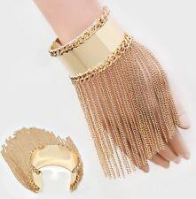 Wide Chunky Fringe Showgirl Chain Gold Cuff Bracelet Bangle Metal Costume