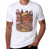 Burger Zilla Funny T-shirts Ringer Men's Cotton Short Sleeve white Tops tee XXL