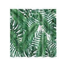 Waterproof Green Leaf Print Shower Curtain Sheer Panel BATH +Hook Extra Long