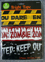 3 x Halloween Decorations FRIGHT Caution Warning TAPE 27 metres long Bunting