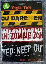 3 x cinta de advertencia de precaución susto decoraciones de Halloween 27 metros de largo EMPAVESADO