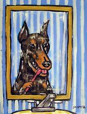 Doberman Pinscher dog brushing teeth bathroom dog art print 4x6 gift