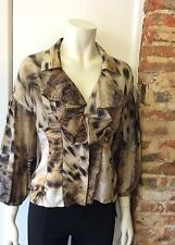 JUST CAVALLI ANIMAL PRINT BLOUSE SIZE 44 approx UK 10