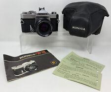 Konica Autoreflex T3 35mm SLR Camera w/ Hexanon AR 50mm F1.7 Lens Case & Manual