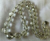 925 Art Deco Clear Cap Faceted Graduated Crystal Bead Choker Necklace 17.5""