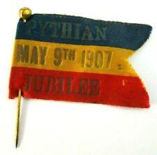 Antique 1907 KOP DC Knights Of Pythias Pythian Jubilee Flag Hat Jacket Pin