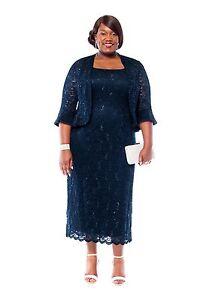 RM Richards Women's Plus Size Sequin Lace Mother of The Bride Jacket Dress