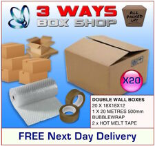 20x 18x18x12 House Removal Pack Double Wall Cardboard Boxes - Bubble & Tape