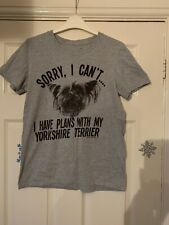 FREE WILL 'Spend Time With My Yorkshire Terrier' T-Shirt Grey UK S 8 10 12 Dog