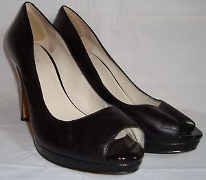 Nine West Danee Black Leather Peep Toe Pumps 10 Heels Shoes Matte