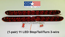 """(2) Red RV Truck Trailer Stop Tail Turn Light 11 LED 15"""" low profile USA"""