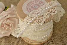 Lace and Pearl Beaded Trimming Ribbon Vintage Wedding Bridal Decoration - Ivory