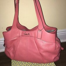 Coach Coral Pink Perforated Lexi Tote Shoulder Bag Satchel Purse 19258