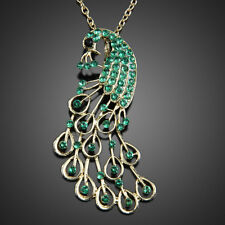 Fashion Vintage Green Peacock Rhinestone Gem Retro Pendant Long Chain Necklace #
