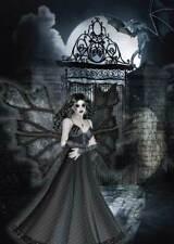 Gothic Fairy Birthday Card for women/girls in demure black dress at castle gates