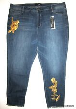 STITCH STAR NWT Gold Sequin Skinny JEANS Womens PLUS 24W 24 3X Ankle Frayed NEW