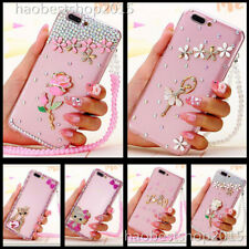 Phone Case With 2 Glass Screen Protector films Ncek Crystals lanyard For iPhone