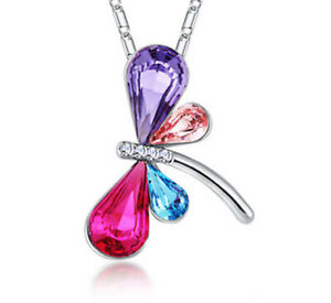 Fashion Lady Silver Chain Crystal Dragonfly Pendant Necklace Women'S Jewelry