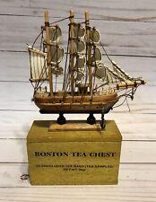 Small Wooden Tea Bag Sample Box Boston Tea Chest Mayflower Ship Replica on Top
