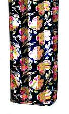 SCARF Very Dark Navy Background Yellow Pink Blue Gray Floral FLOWERS