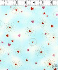 FQ Laurel Burch Fabulous Felines Light Blue Hearts Basics Fat Quarter Fabric