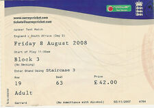 England v South Africa - Oval Test - 2nd day 8 Aug 2008 The Oval Cricket Ticket
