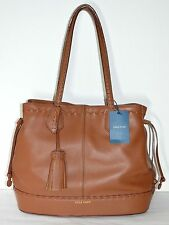 New $330 Cole Haan Allesa Woodbury Brown Leather Drawstring Tote Purse bag