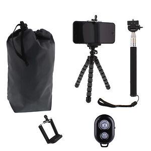 Mini Travel Flexible Tripod Bluetooth Selfie Stick Phone Holder Kit Wih Pouch